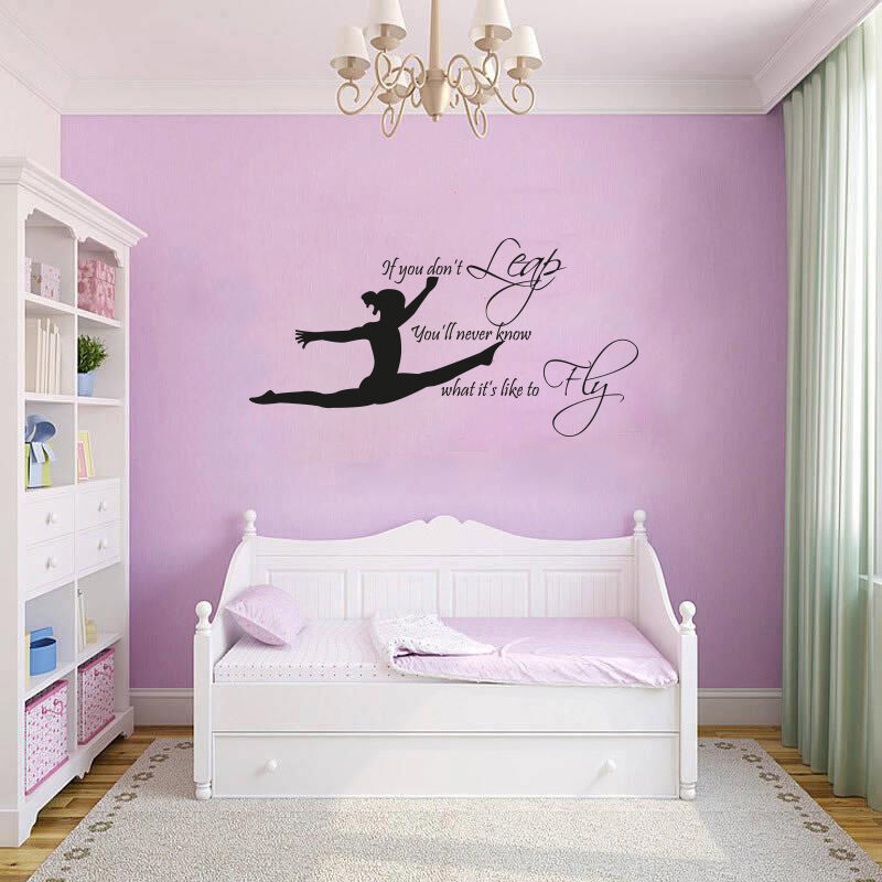 Gymnast gymnastic girls bedroom quote vinyl wall art for Bedroom wall decals