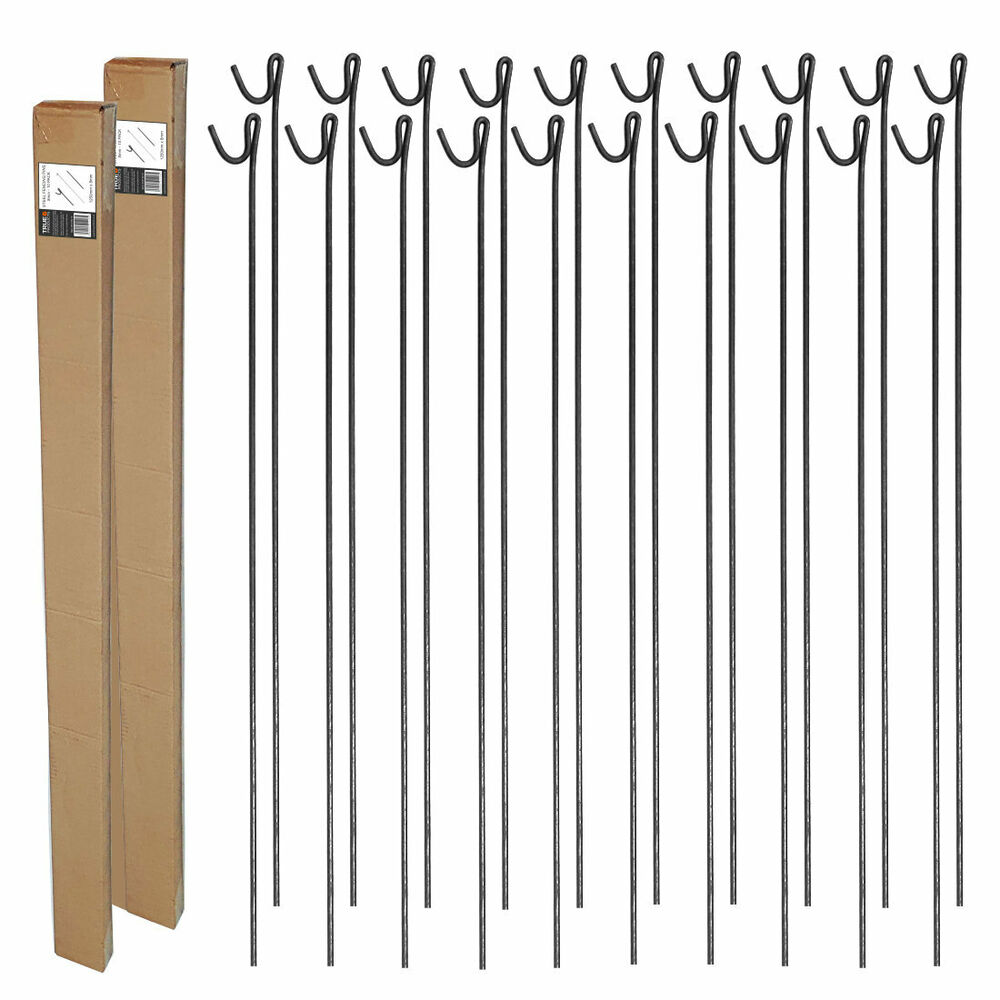 20 X Steel Fencing Pins Road Pins Stakes Posts 1 25m X 8mm