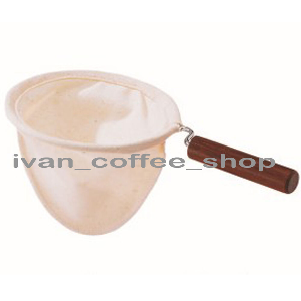 Reusable hand drip flannel cloth coffee filter with wood Reusable wood