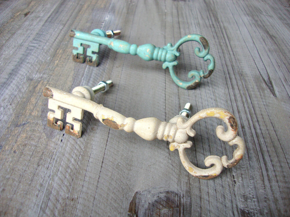 Vintage chic key drawer door handles pulls cream turquoise for Key drawer handles