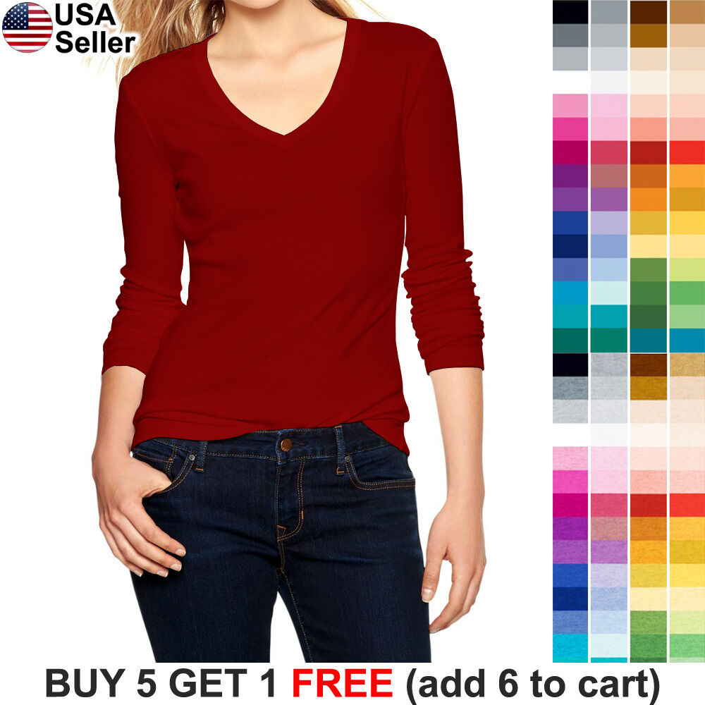 Basic v neck t shirt plain solid color top stretch layer for Plain colored v neck t shirts