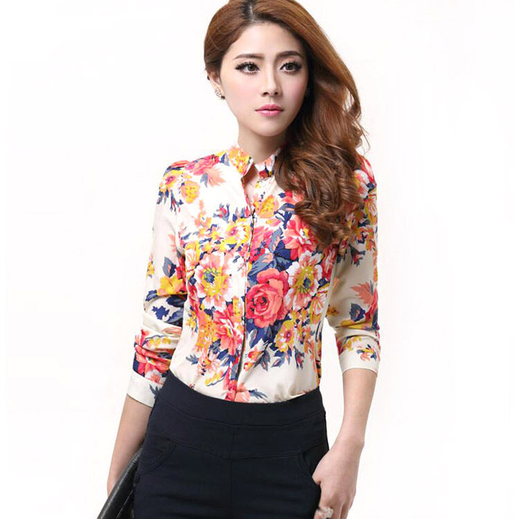 New womens casual stand up collar flowers long sleeve for Stand collar shirt womens