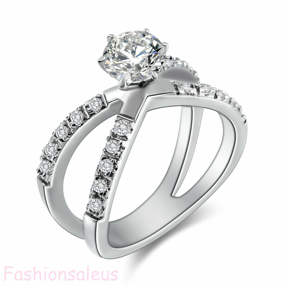 women wedding ring fashion stainless steel 1 25ct cz infinity ring women s 1457