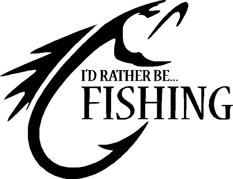 I 39 d rather be fishing vinyl sticker boat fish finder bass for Free fishing stickers