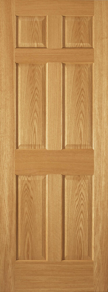 6 panel raised red oak traditional stain grade solid core interior doors slabs ebay for Solid wood panel interior doors