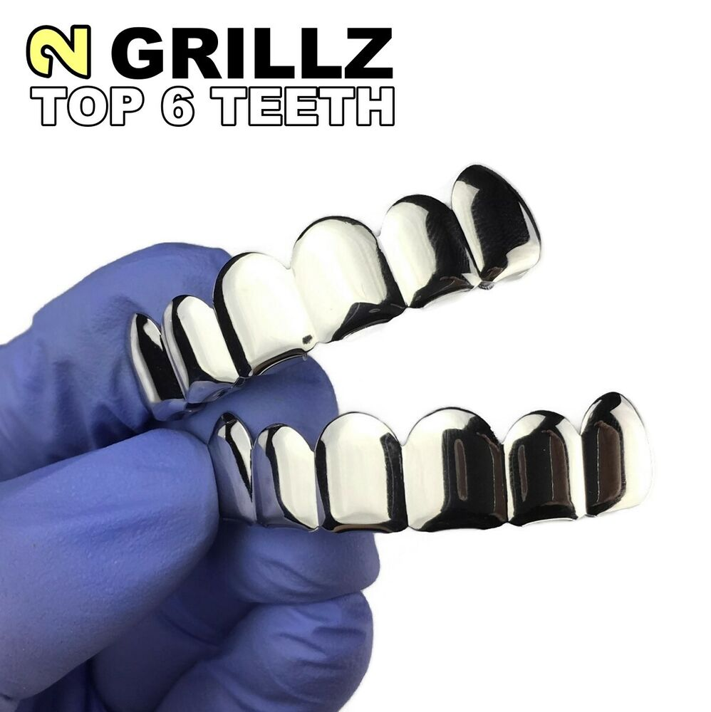 Grillz Set Top And Bottom Silver Platinum Tone Tooth Bling ...