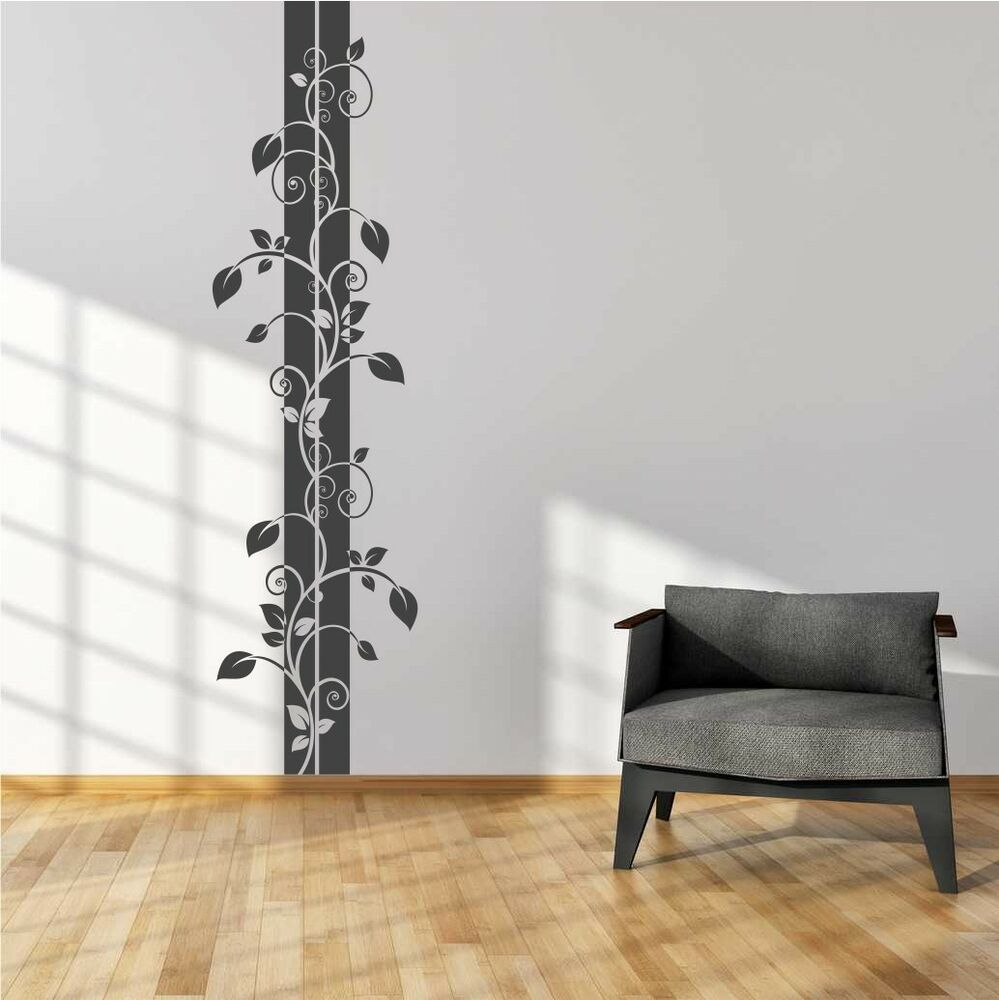 wandtattoo blumenranke bl tter deko aufkleber wandaufkleber wandsticker ebay. Black Bedroom Furniture Sets. Home Design Ideas
