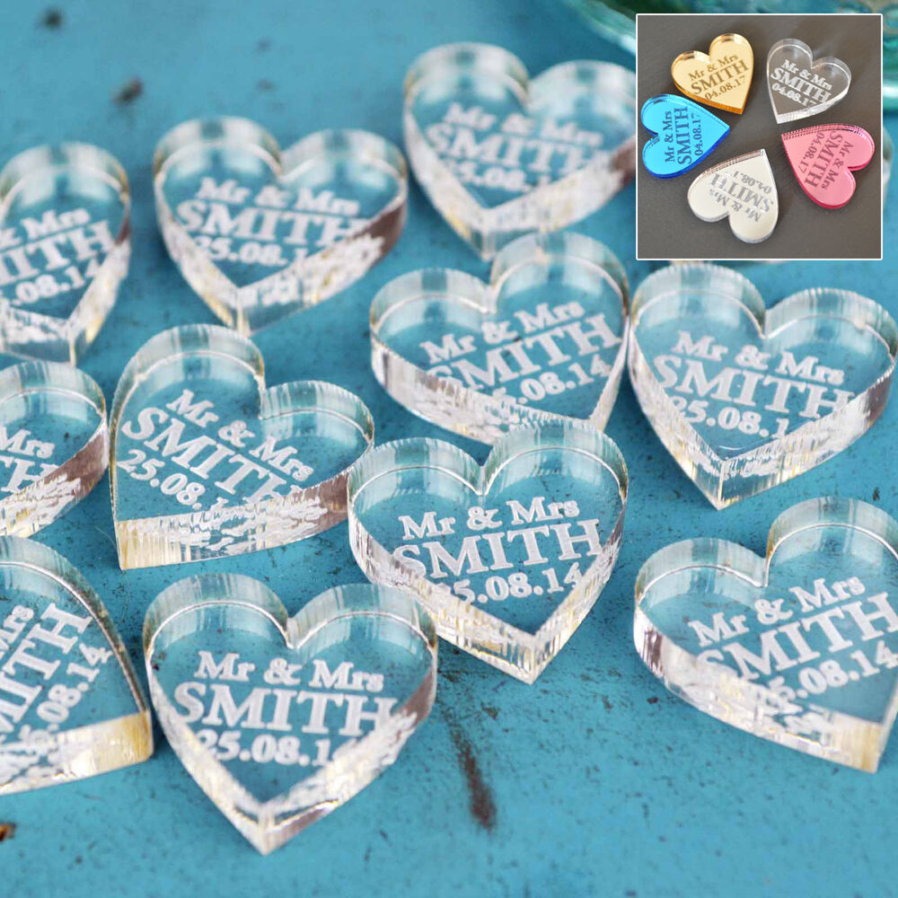 Wedding Souvenirs Ideas Cheap: Personalised Wedding Mr & Mrs Love Hearts Favours Table