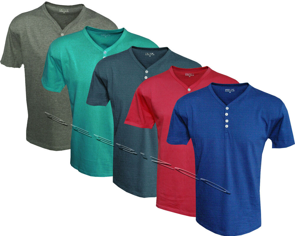 New mens quality plain v y neck 4 button up short sleeve t for V neck button up shirt