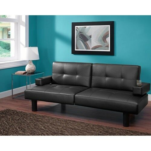 Folding Sofa Bed Sleeper: Leather Faux Fold Down Futon Sofa Bed Couch Sleeper