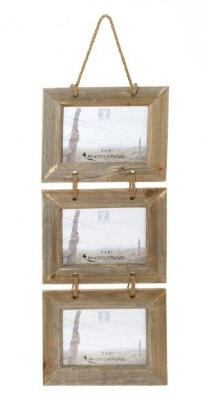 Three hanging rustic wooden rope photo picture frame 7 x 5 Rope photo frame