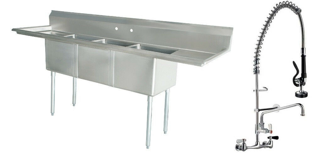 Commercial Triple Sink : Commercial Stainless Steel 3 Three Compartment Sink with Pre Rinse ...