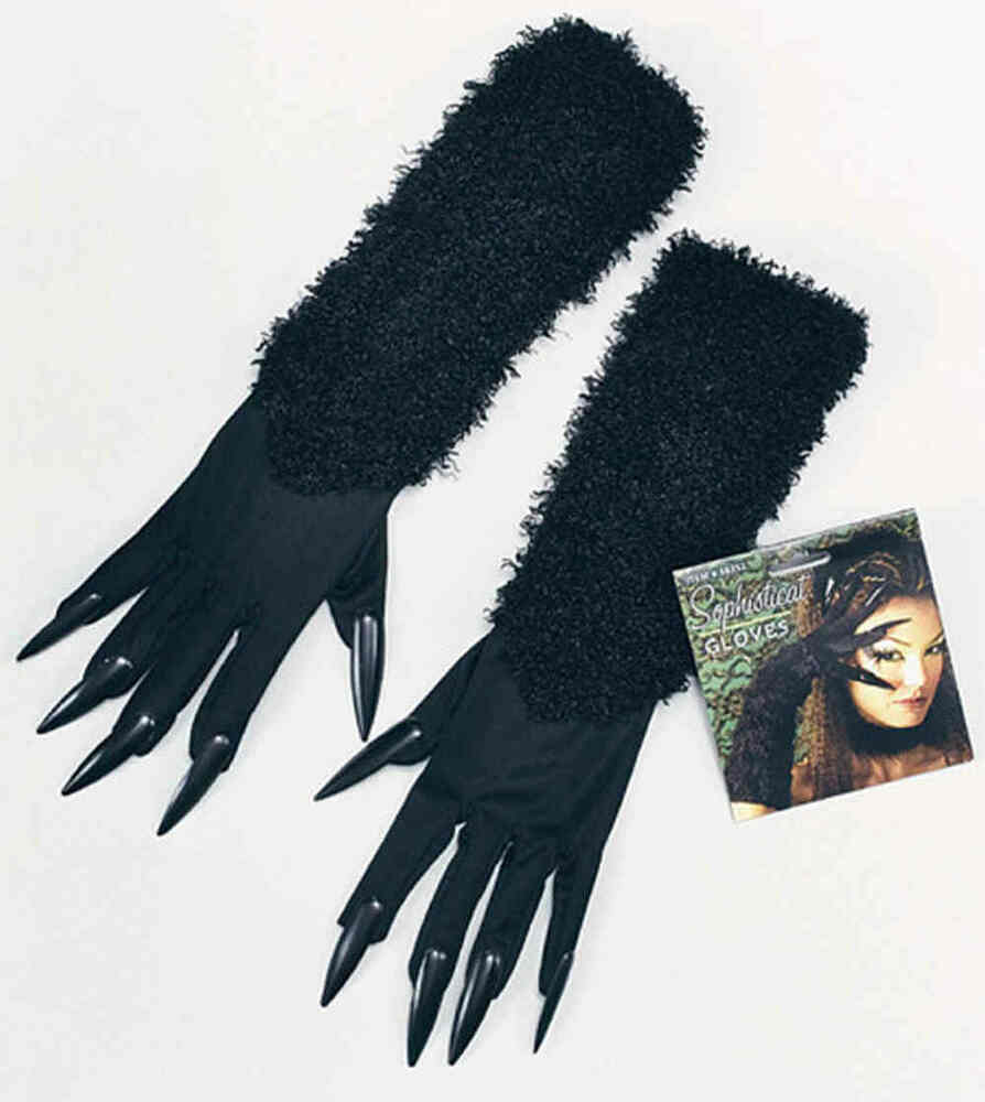Pussy Cat Woman Gloves Claws Halloween Witch Black Nails ...