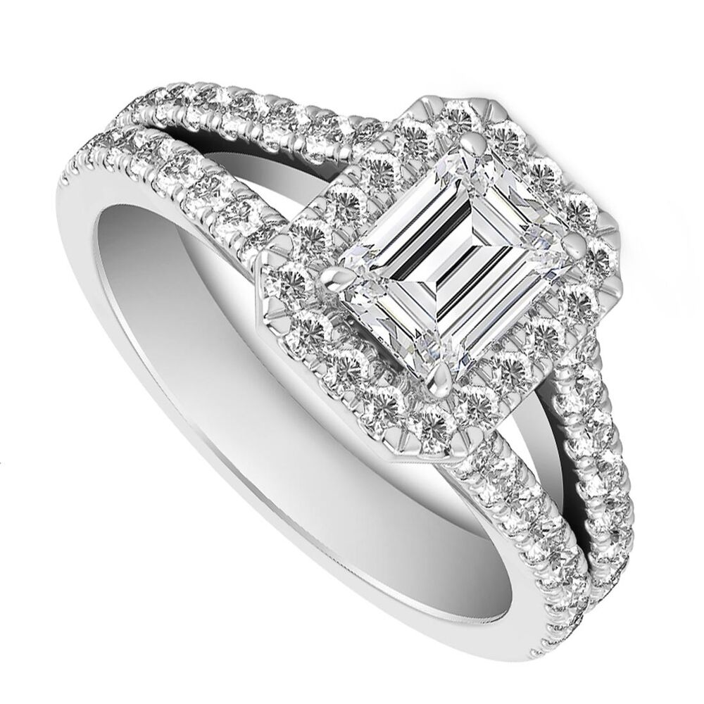Unique Split Shank Emerald Cut Engagement Rings