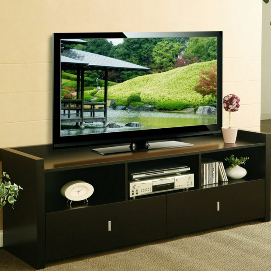 60 inch tv stand for 60 inch stands flat screens media console table espresso ebay. Black Bedroom Furniture Sets. Home Design Ideas