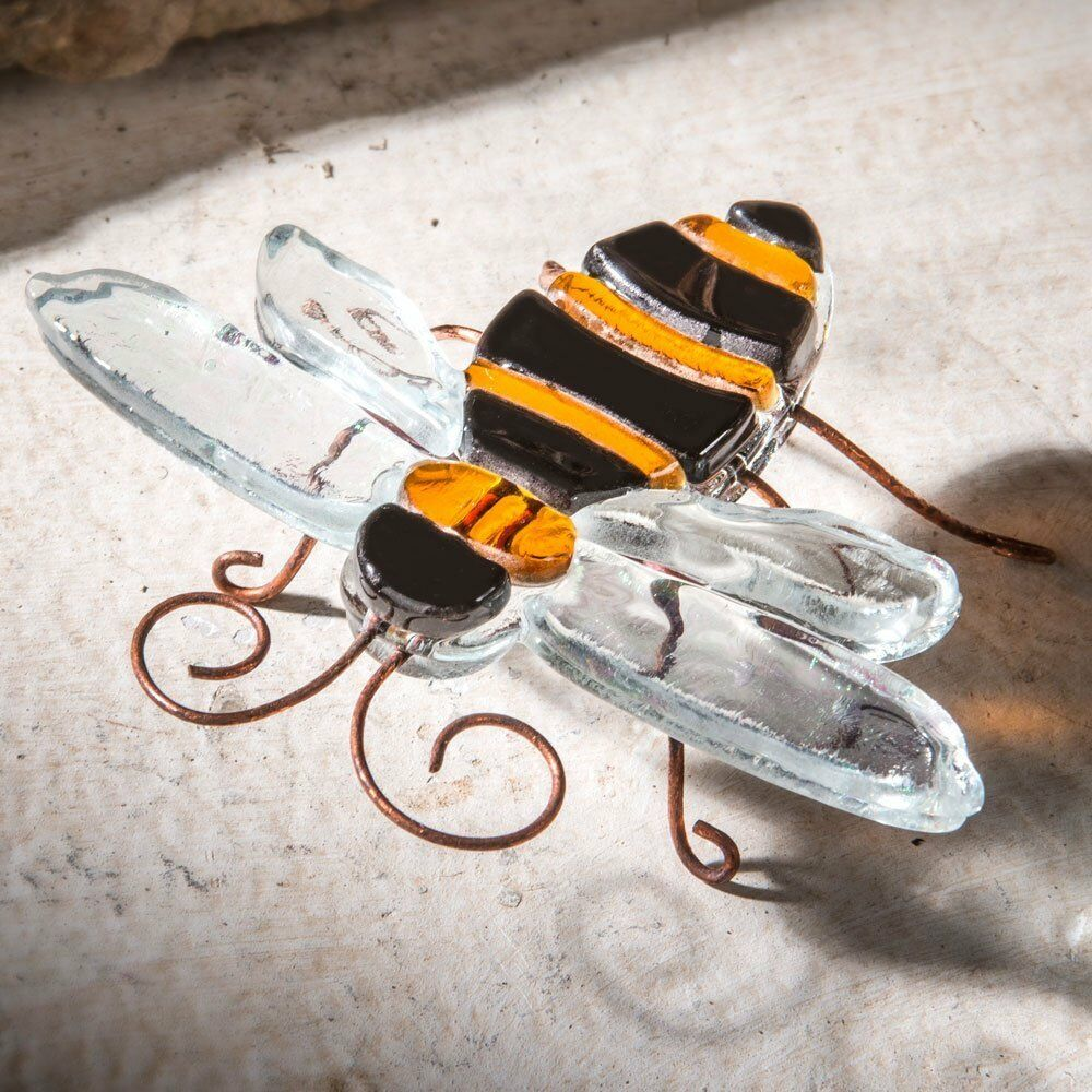 J devlin decorative fused glass bumble bee home garden for Bee decorations for the home