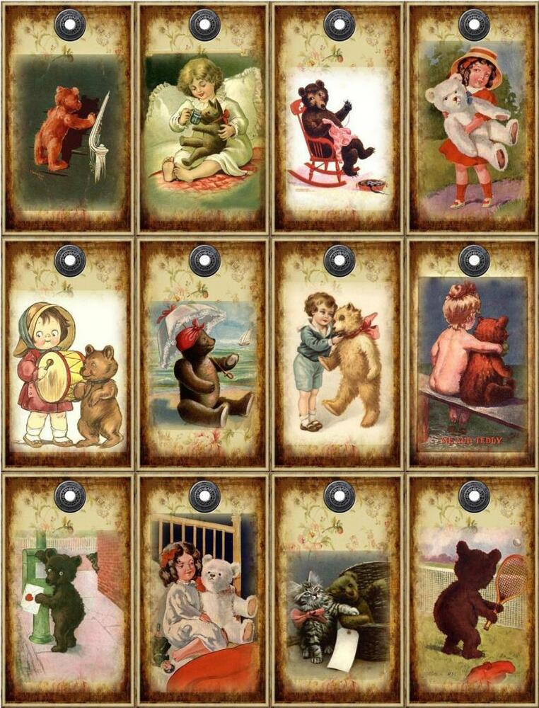 12 teddy bear vintage look paper craft card tag. Black Bedroom Furniture Sets. Home Design Ideas