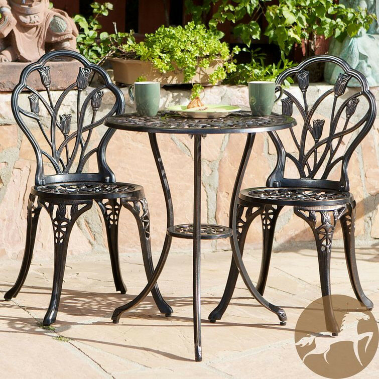 Cast iron bistro patio set outdoor table chairs furniture sets 3 pc metal ebay Metal garden furniture sets