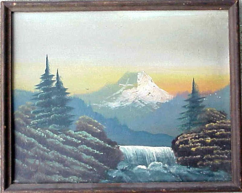 Antique mount of the holy cross mountain artist signed oil for Cross paintings on canvas