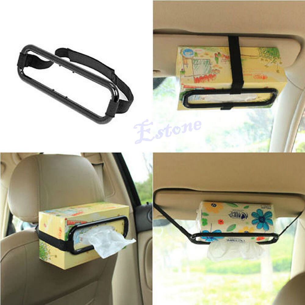 Car sun visor tissue paper box holder auto seat back accessories clip bracket ebay - Notepad holder for car ...