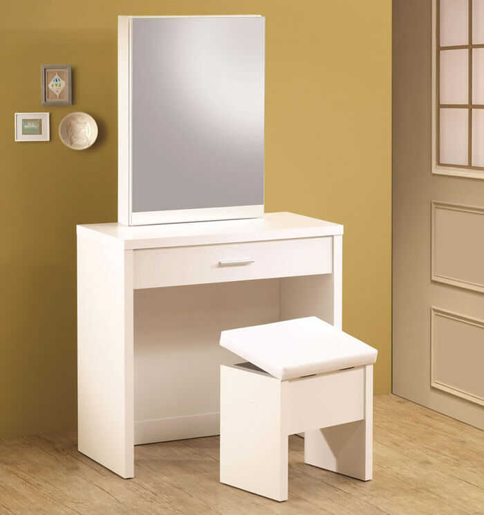 Ultra modern white finish wood vanity make up dressing for Modern make up table