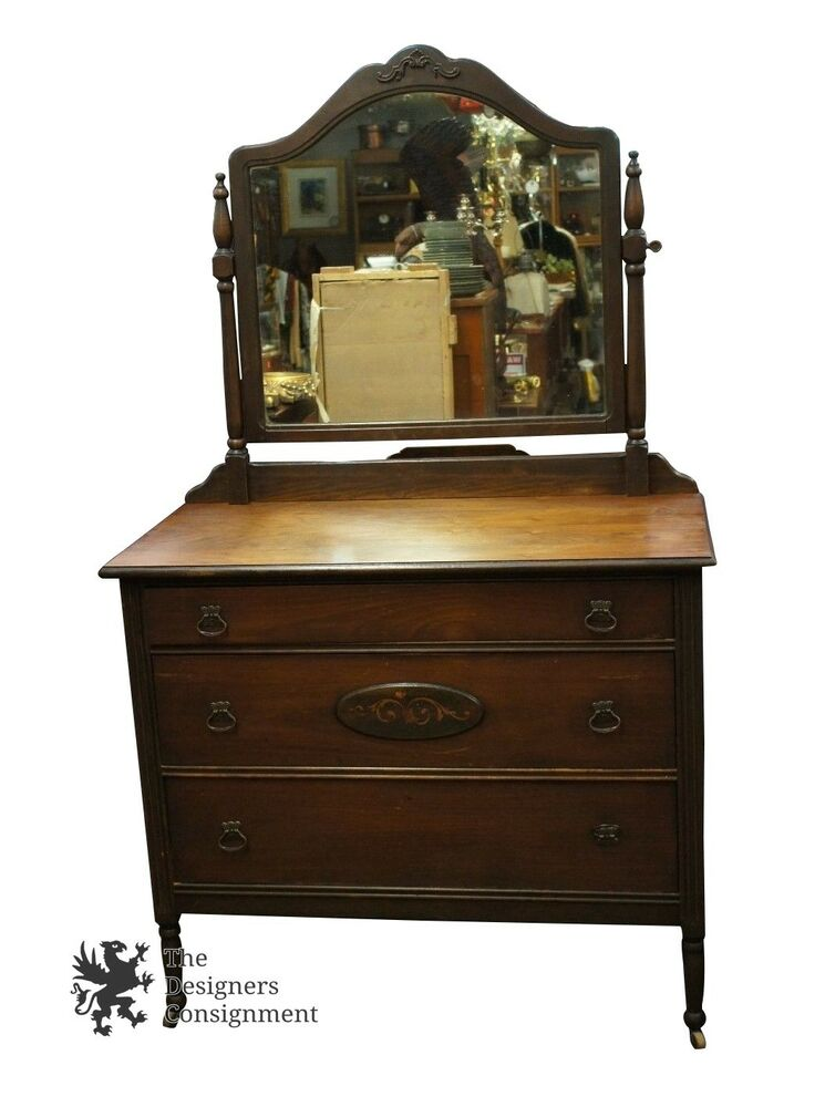Antique kelly furniture co large wooden bedroom dresser w mirror chest art deco ebay Antique bedroom dressers and chests
