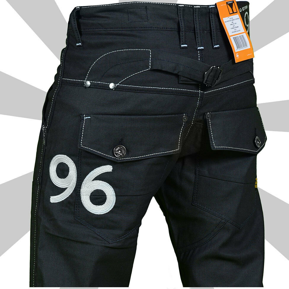 sale g star raw 96 elwood mens heritage embro black jeans. Black Bedroom Furniture Sets. Home Design Ideas