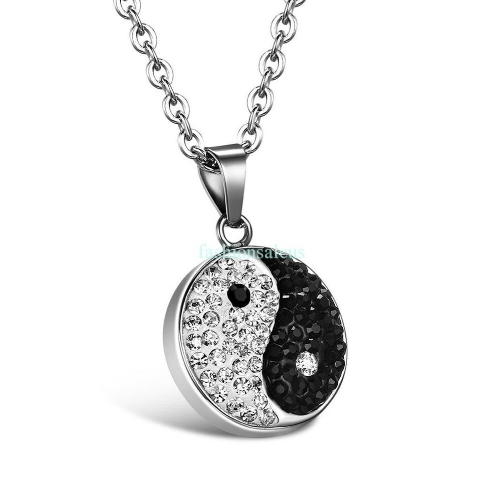 New stainless steel chain w chinese tai chi yin yang for Stainless steel jewelry necklace