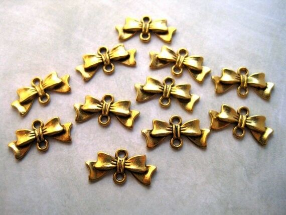 Antique gold bow connector charms p jewelry