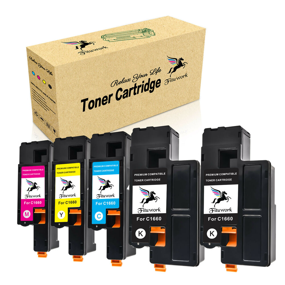 5 pk excellent color toner set high yield for dell c1660. Black Bedroom Furniture Sets. Home Design Ideas