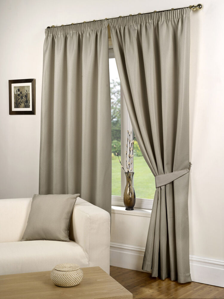 waffle pencil pleat ready made lined curtains taupe ebay. Black Bedroom Furniture Sets. Home Design Ideas