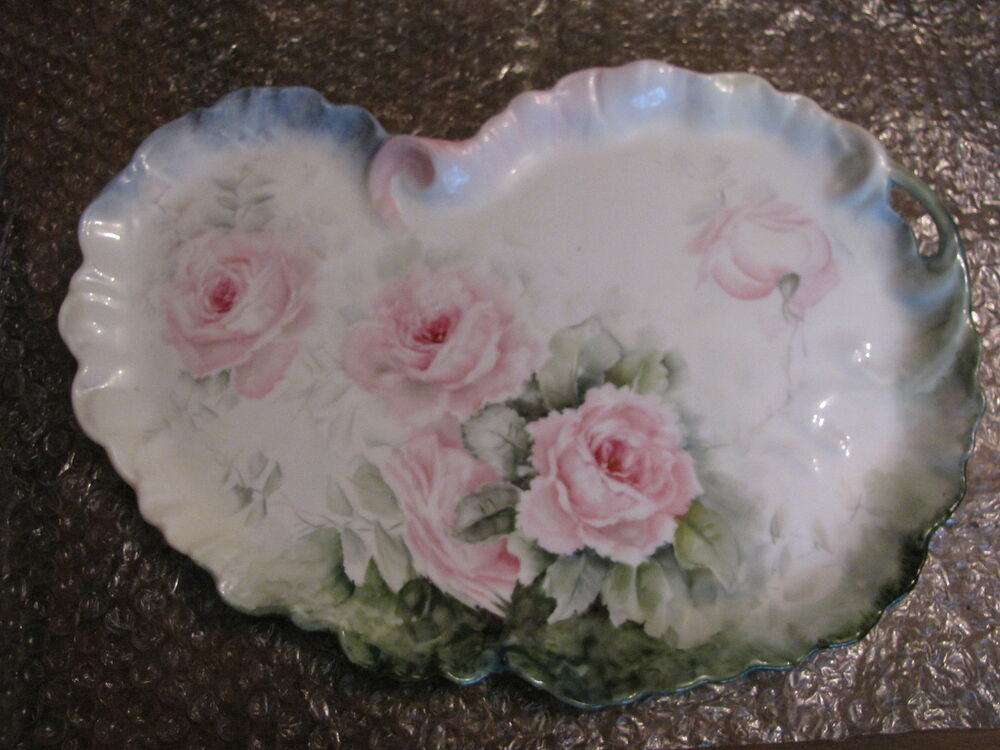 Antique Limoges Guerin Porcelain Vanity Tray Kidney Shaped Roses Hand Paint 13 Quot Ebay