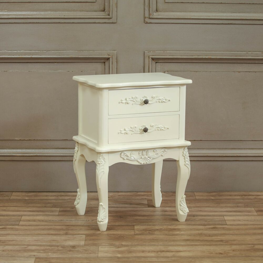 French Shabby Chic Cream 2 Drawer Bedside Table EBay