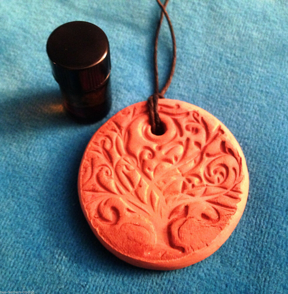 Terracotta Neck Pendant Diffuser ~ Healing terracotta clay diffuser aromatherapy pendant with