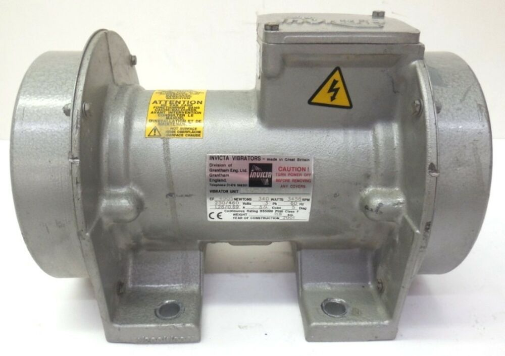 Invicta vibrators motor bl20 5 2 340 watts 230 460 for Used electric motor shop equipment for sale