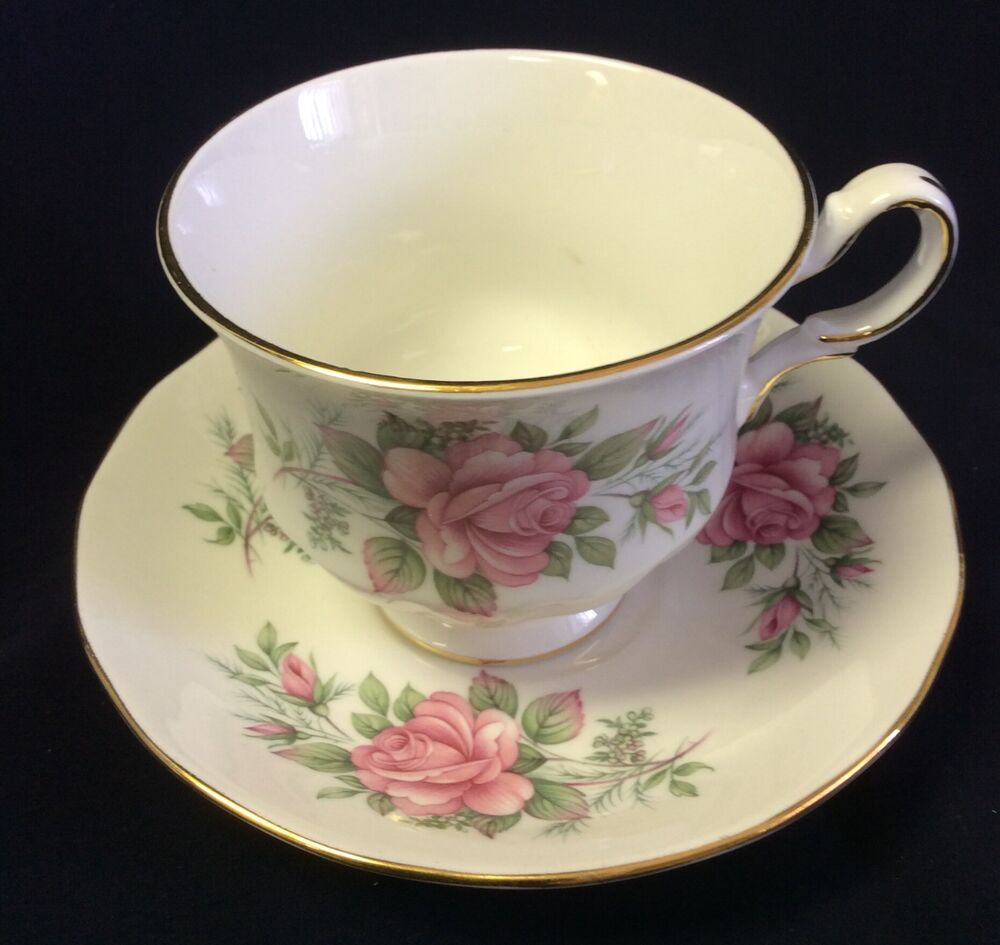 queen anne bone china england tea cup saucer pink floral ridgway 8540 ebay. Black Bedroom Furniture Sets. Home Design Ideas