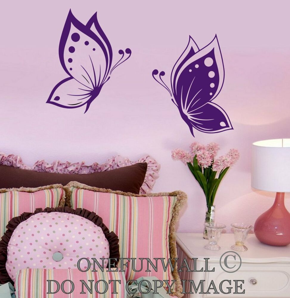 Details About Butterflies Wall Decal Baby Kids Room Nursery 1 Set Of 2  Vinyl Sticker Decor