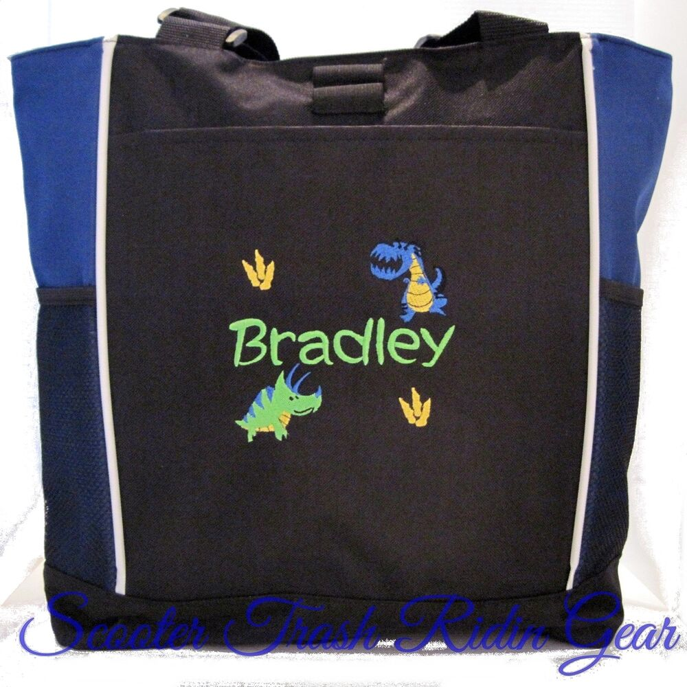 personalized dinosaur tote bag diaper baby beach book black boys new monogram ebay. Black Bedroom Furniture Sets. Home Design Ideas