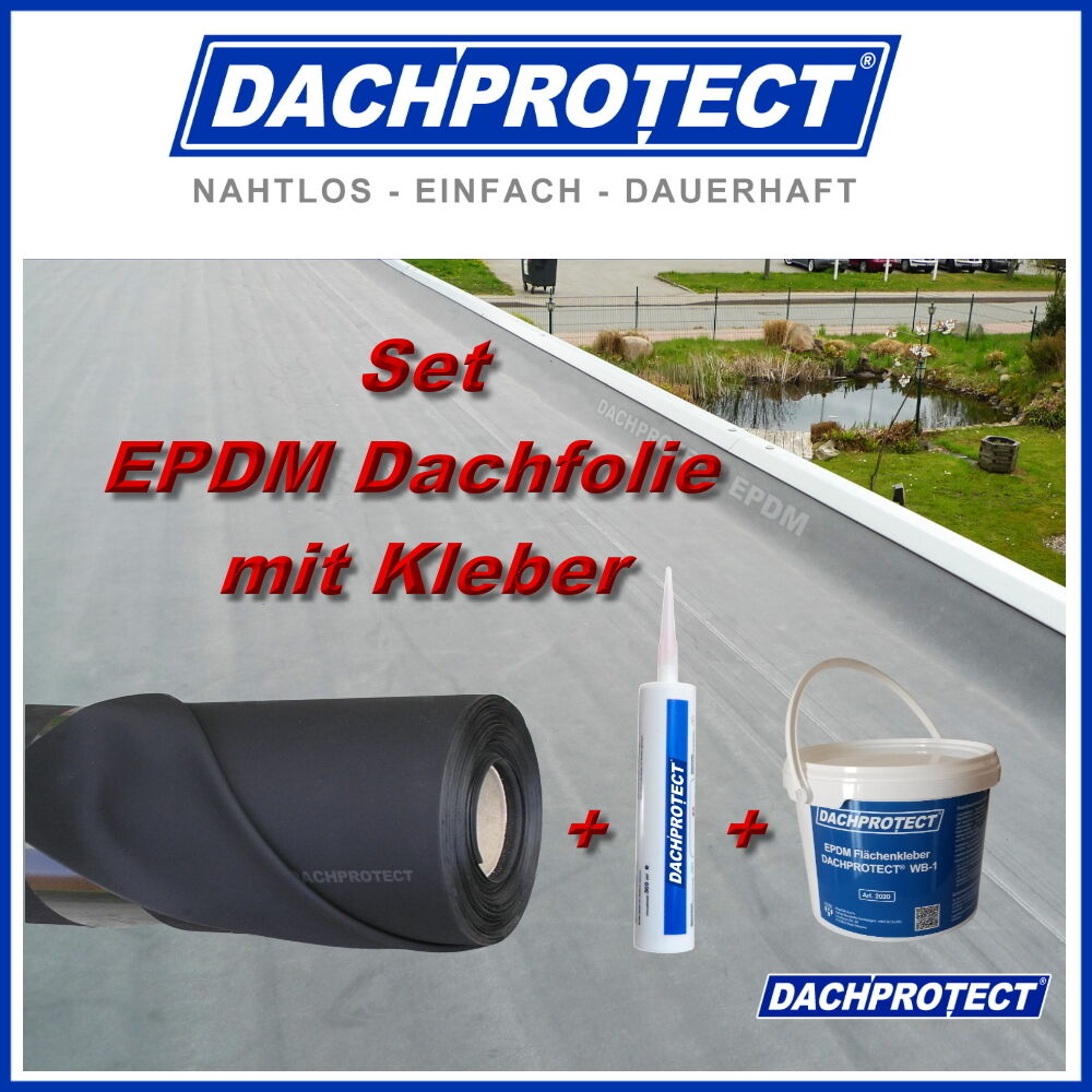 set epdm dachfolie dachprotect 1 2mm 3 05 x 4 0m inkl kleber auf holz ebay. Black Bedroom Furniture Sets. Home Design Ideas