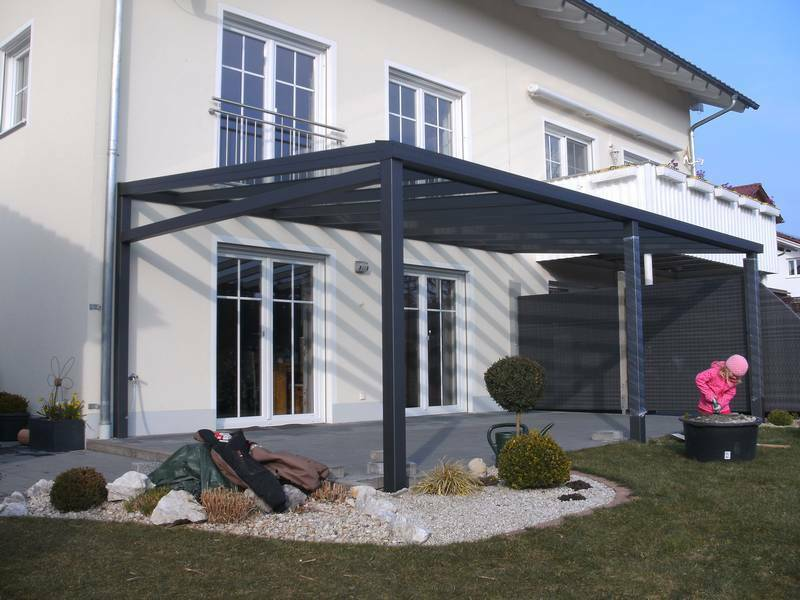 alu terrassen berdachung terrassendach carport vsg 8mm klar breite 5m ebay. Black Bedroom Furniture Sets. Home Design Ideas