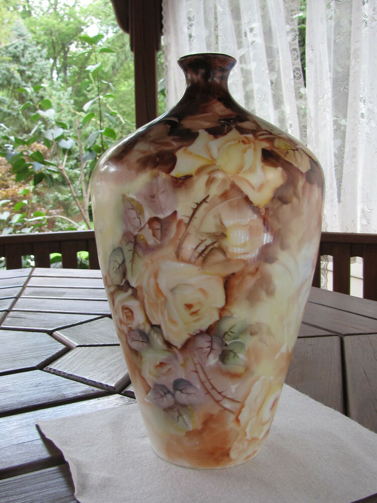 Hand Painted Roses On Porcelain