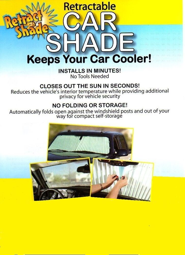 retractable auto sun shade car truck suv beat the heat ebay. Black Bedroom Furniture Sets. Home Design Ideas