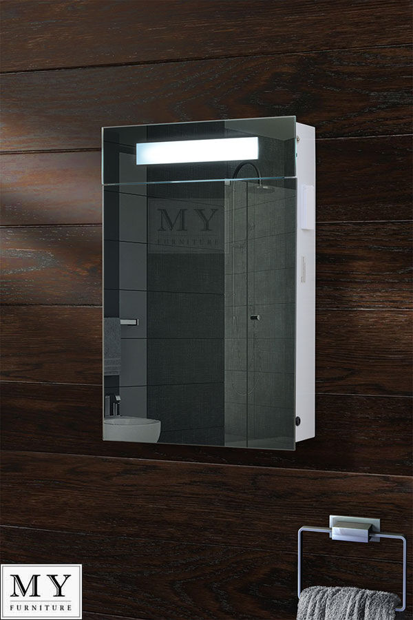 illuminated bathroom mirror cabinet shaver socket