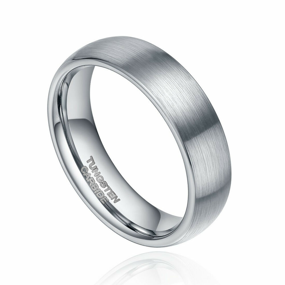 6mm8mm tungsten carbide ring wedding band dome brushed