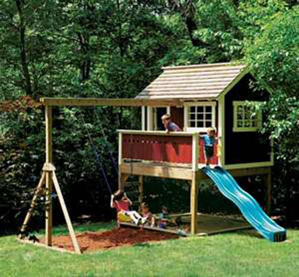 Kids outdoor wooden playhouse swing set detailed plan for Play yard plans