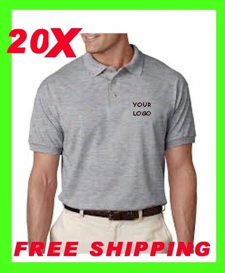20 Polo Shirts Custom Embroidered Free Logo Business