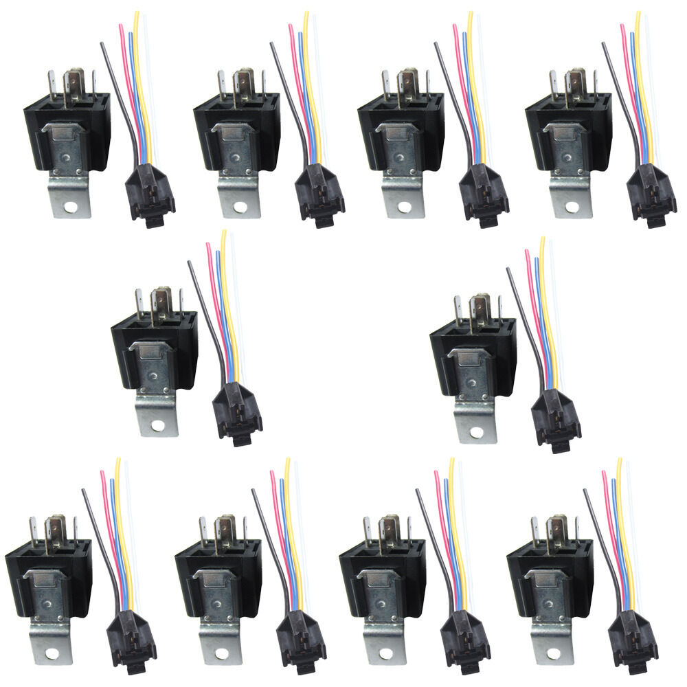 10pack Car Automotive 12v 40a 40 Amp Spdt Relay  U0026 Socket Harness 5 Pin 5p 5 Wire