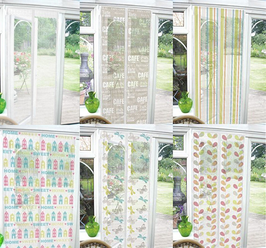 Funky magnetic bug net mesh door insect screen fly curtain for Door net curtains