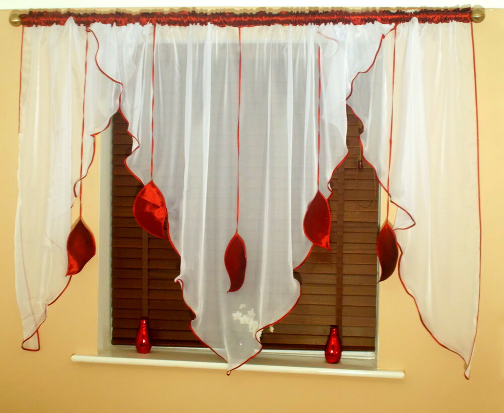 LEAVES READY MADE CURTAINS VOILE TAFFETA BROWN ORANGE