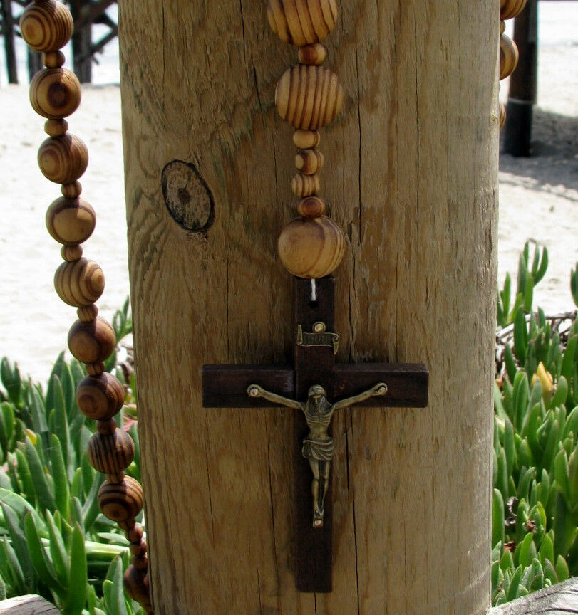 Giant Big Beads Rosario Natural Wood Chain Jesus Cross Xl